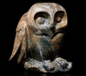 "SOLD ""Hiding Out, Spotted Owlet,"" by Marilyn Armitage Brazilian soapstone 9"" (H) $825"