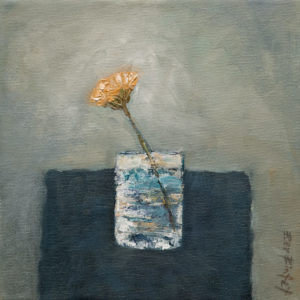 "SOLD ""Just Picked,"" by Bev Binfet 8 x 8 – oil $330 Unframed $415 Custom framed"