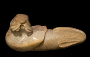 "SOLD ""Just Relaxing,"" by Marilyn Armitage Alabaster 13"" (L) x 6"" (H) $625"