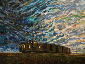 "SOLD ""The Last Caboose,"" by Steve Coffey 36 x 48 – oil $3360 Unframed"