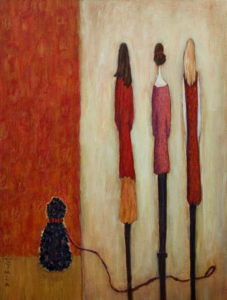 "SOLD ""Let's Walk the Dog,"" by Bev Binfet 18 x 24 – acrylic $750 Unframed"