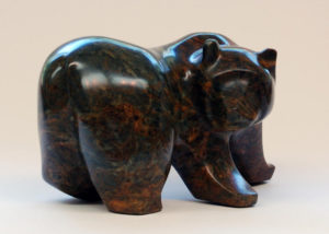 "SOLD ""Look About Bear,"" by Marilyn Armitage Soapstone figure dimensions 6 1/4(H) x 11(L) $700"