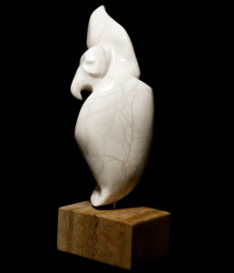 """SOLD """"Lost in the Clouds,"""" by Marilyn Armitage Opaque alabaster on limestone base 15 1/2"""" (H) $925"""