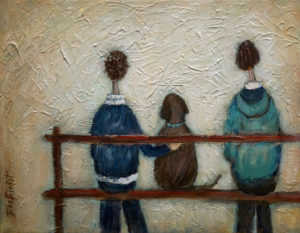 "SOLD ""Make Room For Dad,"" by Bev Binfet 11 x 14 – mixed media $440 Unframed"