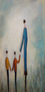 "SOLD ""Meeting Dad,"" by Bev Binfet 12 x 24 – acrylic $685 Unframed"