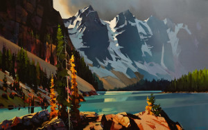 "SOLD ""Moraine Lake and the Tamaracks,"" by Michael O'Toole 30 x 48 – acrylic $5460 Unframed"