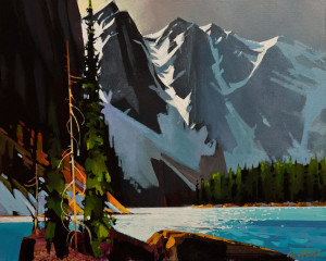 "SOLD ""Moraine Lake in Blue-Gray,"" by Michael O'Toole 16 x 20 – acrylic $1475 Unframed"