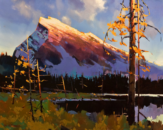 "SOLD ""Mt. Rundle,"" by Michael O'Toole 24 x 30 - acrylic $2780 Unframed $3400 Custom framed"