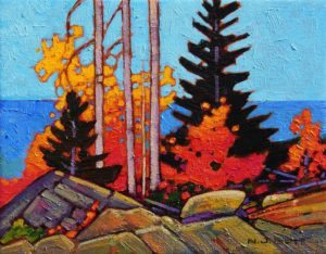 "SOLD ""November at the Rockslide,"" by Nicholas Bott 11 x 14 – acrylic $1250 Unframed"