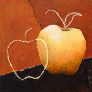 "SOLD ""Orchard Fruit II,"" by Bev Binfet 10 x 10 – acrylic $340 Unframed"