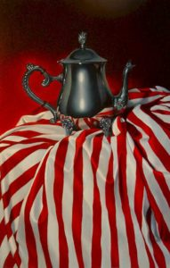 "SOLD ""Peppermint Tea,"" by Mickie Acierno 16 x 24 – oil $2100 Unframed"