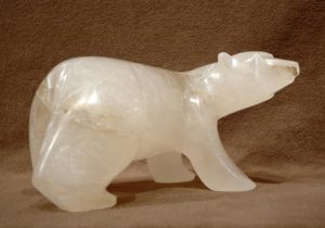 "SOLD ""Polar Ice,"" by Marilyn Armitage Transluscent Italian alabaster 6"" (H) x 11 1/2"" (L) $750"