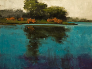 "SOLD ""Reflection No. 1,"" by Robert P. Roy 30 x 40 – oil $2450 (thick canvas wrap)"