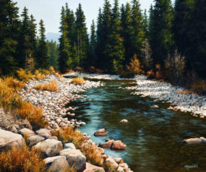 "SOLD ""Salmon River,"" by Merv Brandel 20 x 24 – oil $2280 Unframed"
