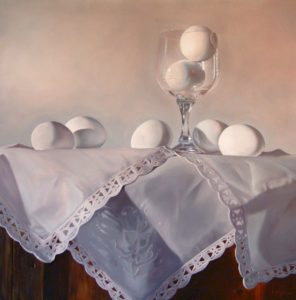 "SOLD ""Seven Up,"" by Mickie Acierno 36 x 36 – oil $3200 Unframed"