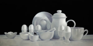 "SOLD ""Shades of Grey,"" by Mickie Acierno 20 x 40 – oil $3250 Framed  Winner of the 2007 Torrit Grey Art Competition"