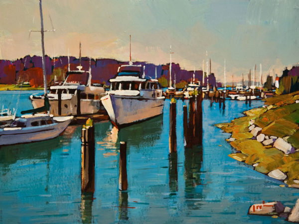 "SOLD ""Silent Sunday, La Conner,"" by Min Ma 9 x 12 - acrylic $1090 Unframed"
