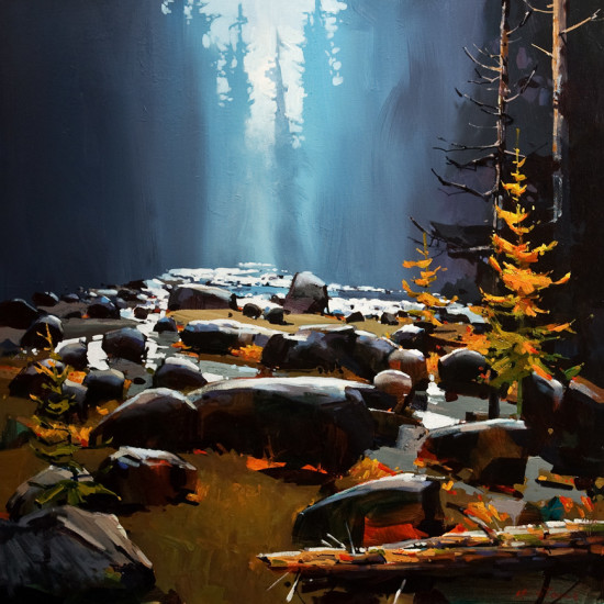 "SOLD ""Soft Day in Capilano Canyon,"" by Michael O'Toole 30 x 30 - acrylic $3400 Unframed $3980 Custom framed"