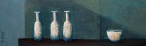 "SOLD ""Spa Time,"" by Bev Binfet 8 x 24 – acrylic $530 Unframed"