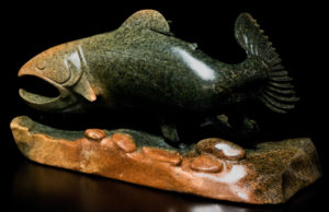 """SOLD """"Staying Deep,"""" by Marilyn Armitage Brazilian soapstone 17"""" (L) x 9"""" (H) $1100"""