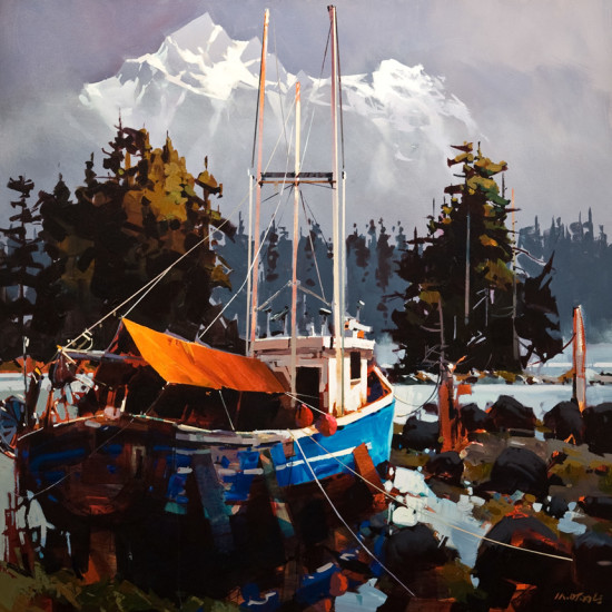 "SOLD ""Stranded Along the Skeena,"" by Michael O'Toole 36 x 36 - acrylic $4600 Unframed $5400 Custom framed"