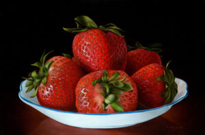"SOLD ""Strawberry Kisses,"" by Mickie Acierno 16 x 24 – oil $2200 Unframed"