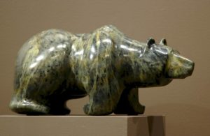 "SOLD ""Summer Foraging,"" by Marilyn Armitage Soapstone – 5 1/2""(H) x 12 1/2""(L) $650"