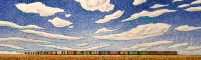 """A Summer Train,"" by Steve Coffey 12 x 40 - oil $2290 Unframed"