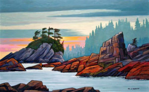 "SOLD ""Sunset on West Coast,"" by Nicholas Bott 30 x 48 – oil $6140 Framed"
