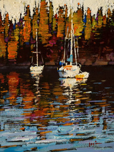 "SOLD ""Three Boats,"" by Min Ma 6 x 8 – acrylic $650 Unframed"