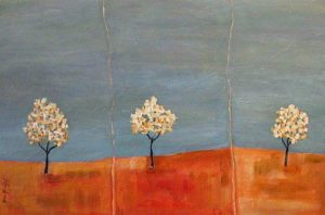 "SOLD ""Three Trees,"" by Bev Binfet 20 x 30 – acrylic $1050 Framed"