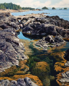 "SOLD ""Tide Pool,"" by Merv Brandel 24 x 30 – oil $3180 Unframed"