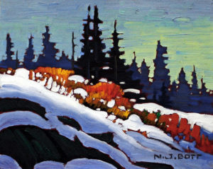 "SOLD ""Tongas – October Snow,"" by Nicholas Bott 8 x 10 – oil $1130 Framed"