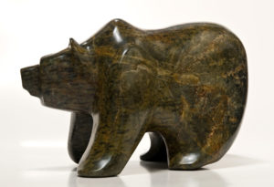 "SOLD ""Traversing the Alpine,"" by Marilyn Armitage Soapstone – 11"" (L) x 7 1/2"" (H) $925"