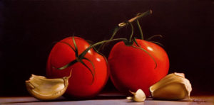 "SOLD ""Two for the Stew,"" by Mickie Acierno 12 x 24 – oil $1750 Unframed"