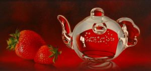 "SOLD ""Two for Tea,"" by Mickie Acierno 10 x 20 – oil $1250 Unframed"