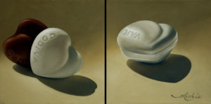 "SOLD ""Two Hearts … One Love,"" by Mickie Acierno diptych – 8 x 16 overall size – oil $850 (thick canvas wraps without frame)"