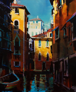"SOLD ""Venice – Golden Hour,"" by Michael O'Toole 20 x 24 – acrylic $1980 (thick canvas wrap)"
