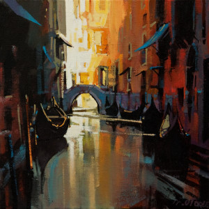 "SOLD ""Venice Antiquity,"" by Michael O'Toole 12 x 12 – acrylic $910 Unframed"