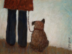 "SOLD ""Walking the Dog,"" by Bev Binfet  9 x 12 – acrylic  $370 Unframed"
