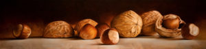 "SOLD ""Wall Nuts,"" by Mickie Acierno 12 x 48 – oil $2625 Unframed"
