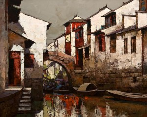 "SOLD ""Water Alley,"" by Min Ma 24 x 30 – acrylic $4060 Unframed"