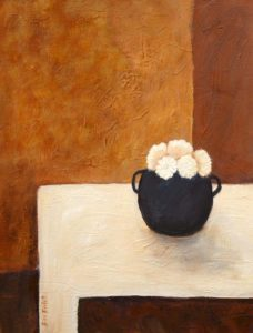 "SOLD ""White Flowers,"" by Bev Binfet 14 x 18 – acrylic $580 Unframed"