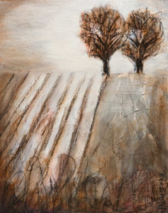 "SOLD ""Winter Patterns,"" by Bev Binfet 11 x 14 – acrylic/mixed media $540 Unframed"