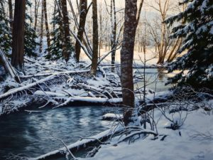 "SOLD ""Winter Shadows,"" by Merv Brandel 30 x 40 – oil $4380 Unframed"