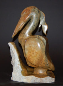 "SOLD ""Young Heron,"" by Marilyn Armitage Soapstone figure dimensions 17 1/2(H) $1900"