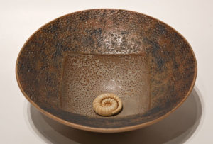 "SOLD Vessel (LR-143) by Laurie Rolland hand-built ceramic - 10"" (W) $160"