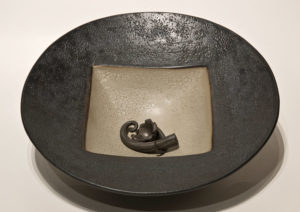 "SOLD Vessel (LR-144) by Laurie Rolland hand-built ceramic - 11"" (W) $160"