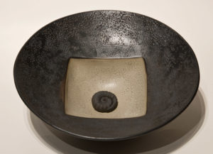"SOLD Vessel (LR-145) by Laurie Rolland hand-built ceramic - 11"" (W) $160"