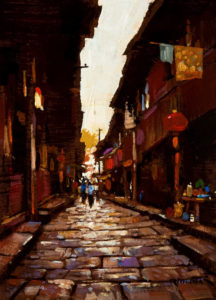 "SOLD ""The Alley,"" by Min Ma 5 x 7 - acrylic $450 Unframed $575 in show frame"